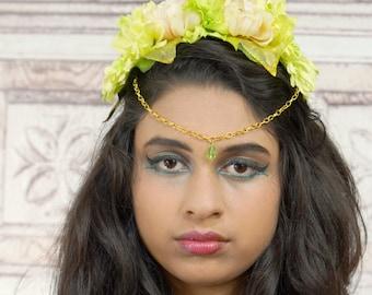 Floral Crown Diadem, Woodland Circlet, Flower Crown, Fairy Headpiece, Gold Elven Headdress, Costume Headpiece, Pastel Green, Crown, Headband