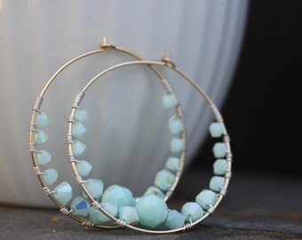Swarovski Crystal Wire Wrapped Hoops Gold Filled