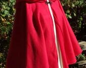 Short Red Fleece Cloak - Circle Costume Cloak or Jacket