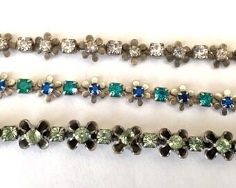 Vintage Swarovski rhinestone chain flowers crystal sapphire blue peridot green rhinstone crystal  silver plated  Austrian crystals