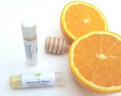 Honeyed Citrus lip balm, natural lip balm, organic oil, essential oil, no artificial colors, natural flavoring, lip care, tube lip balm