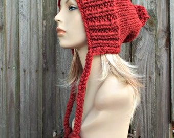 Russet Red Slouchy Hat Red Womens Hat Red Hat Red Beanie Red Knit Hat Slouchy Beanie - Charlotte Slouchy Ear Flap Hat - READY TO SHIP