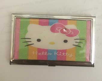 Pink Glam Kitty Business Card Holder Credit Card Case