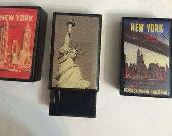 3 Collector New York City Slide Trinket Boxes & 2 Blank Postcards
