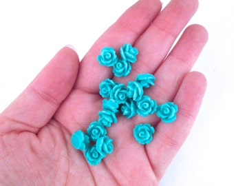 10mm Teal Rose Cabochons, Blue Flower Cabochons, Pick Your Amount