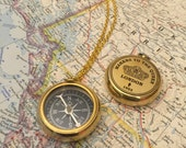 Working Compass Necklace, Gold Compass, Gold Compass Necklace, Compass Necklace, Wife Gift, Girlfriend Gift, Gold Engraved Compass Gift