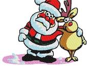 Santa and Rudolf Embroidery Design