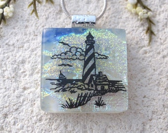 Dichroic Jewelry, Lighthouse Necklace, Dichroic Pendant, Fused Glass Jewelry, Dichroic Jewelry, Dichroic Jewelry, Gold Necklace, 1016916p103