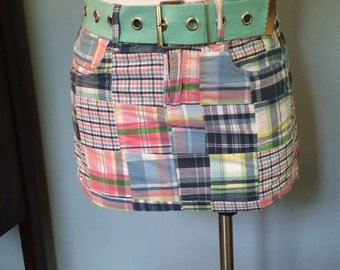 Vendor apron Multicolored blue, pink aqua, white, green plaid patchwork cotton utility apron,  craft show apron upcycled