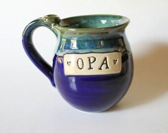 Ready to Ship, Opa Mug, Blue and Green Coffee Mug