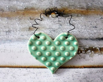 FUN light green ornament - one ceramic clay heart - handmade, ready to mail