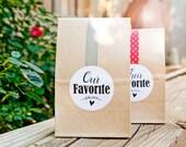 Wedding Favor Stickers - Wedding Favors, Shower Favors - Their Favorite or Our Favorite - 20 Stickers