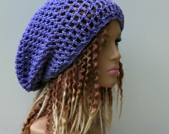 Cotton Slouchy beanie, orchid purple hippie dread tam hat slouchy snood beanie hat
