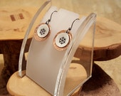 Winter is Here GOT inspired snowflake hand stamped mixed metal copper and aluminum textured layered french hook earrings