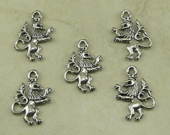 5 Lion of the Tabernacle Charms > Royal Coat of Arms Gryffindor Crest Creature - American Made Lead Free Silver Pewter Ship Internationally
