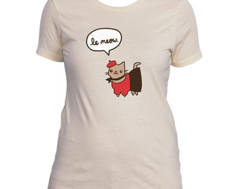 Cute Women's Shirt Le Meow French Cat Tshirt Paris Cat Gift For Her