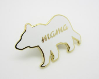 Mama Bear Cloisonné Hard Enamel Pin White and Gold