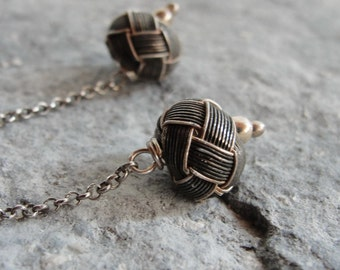Sterling Silver Long Earrings Hand knotted Kazaziye woven Fine Silver Oxidized and Mat