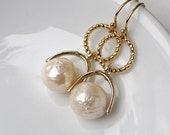 Genuine Kasumi AAA Ivory Pearl Focal Earrings in 14kg fill....