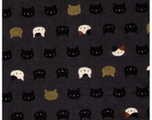 "End of BOLT Cut 20"" - Neko II - Cat Faces on Grey w/ Gold Metallic Accents - Calico, Black Cat - 3170-14E - Quilt Gate"