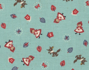 HALF YARD Kokka - Red Riding Hood - Blue - 85/15 Cotton/Linen Blend - Japanese Import