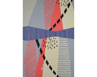 HALF YARD Kokka Echino Fall 2015 - Wondervogel JG-96400-400D - Peach, Grey, Pink  - Cotton Linen