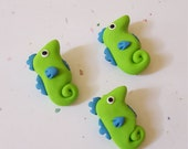 Seahorse Beads/ Set Of Three 20mm Polymer Clay Seahorses/ Handmade Bead /Green And Blue/ Jewelry Supplies/ Animal Beads/ Crafts/ Beading