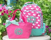 Gift Set of 2 - Monogrammed Backpack and Lunchbox in Pink Whales Pattern, Girls School Bookbag Set, Personalized School Bags for Girls