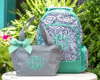 Parker Paisley Gift Set of 2 - Monogrammed Backpack and Lunchbox, Girls School Bookbag Set, Personalized Girls School Bags, Mint Paisley