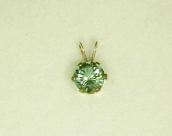 6mm Zandrite in 14k Yellow Gold Pendant Green to Pink Color Change