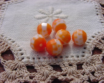 Candy Orange Facets Vintage Glass Beads