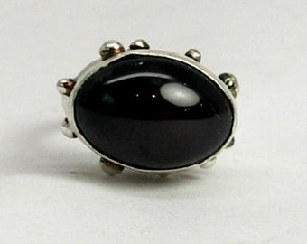 Stunning Statement Ring with Large Black Moonstone-3 D Ring-3 Dimensional-Cocktail Ring-Oval Ring-Circle Ring-Moonstone Ring