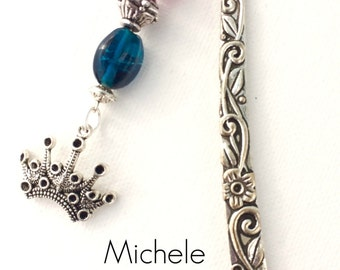 Beaded Metal Bookmark With a Crown Charm For Your Books, Planner Charms & More