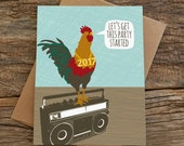 funny new years card / rooster party