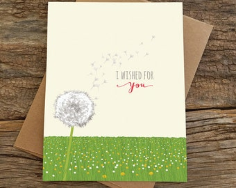 love card / anniversary card / dandelion wished for you