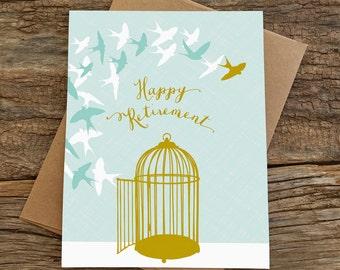 retirement card / happy retirement / birds