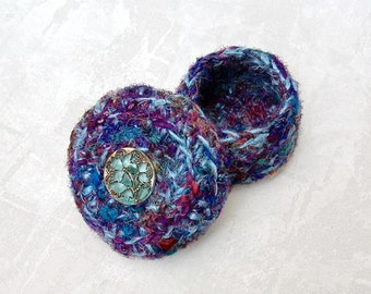 Garden Inspired Handmade Silk Basket for Her - Unique Decorative Multicolor Basket with Aquamarine Flower Button - Mother's Day Gift STB004