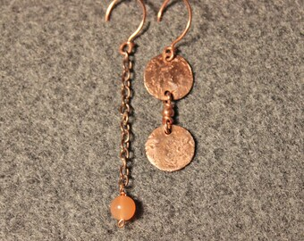 Mismatched Copper Earrings