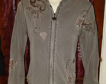 Ladies Gray Studded Zip Front Hoodie Top S/M Punk Goth