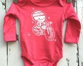 Newborn Coral Pink Babygro vest Zombie Biker baby romper by Love Rocky