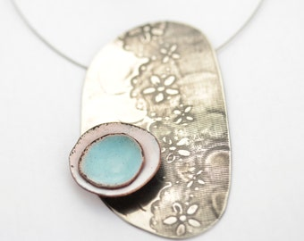 Lace-Textured Silver with Aqua and white enamel disks necklace - Silver textured with lace ribbon pattern