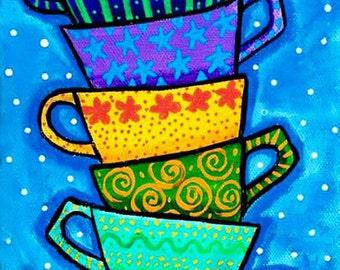 Teacups Colour Folkart Print Shelagh Duffett