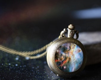 Carina Nebula Necklace - Outer Space Jewelry, Galaxy Pocket Watch Necklace - Science Gift, Space Wedding Gift, Yugen - Silver or Bronze