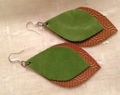 Leaf Green and Tan Textured Leather Earrings