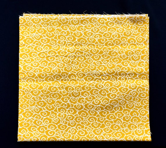 Japanese Fabric - Japanese Cloud Fabric - Yellow Fabric -  Half Yard   110 cm x 50 cm (F48-P34)