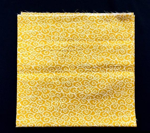 Japanese Fabric - Japanese Cloud Fabric - Yellow Fabric -  Half Yard   110 cm x 50 cm (F48-P34)