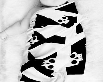 Punk Rock Receiving Blanket swaddle skull alphabet print stretch knit and any color cotton on back 30x36