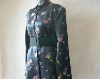 Vintage Asian Brocade TUNIC Jacket / size 6 8 10 / CHARCOAL Grey Silk Satin Florals / 1980s  Long Sleeve