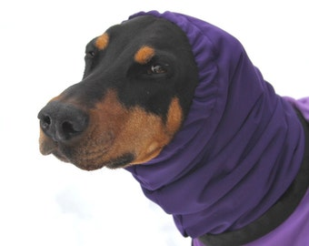 Water resistant Snood for Dog - Large Dog Snood - Purple - Softshell Fleece - Dobersnood - Waterproof and Warm Snood