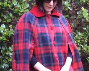 Red plaid wool cape with suede collar size small